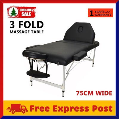 Portable Aluminium 3 Fold Massage Table Therapy Waxing Beauty Bed Chair 75CM OZ