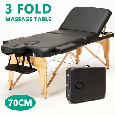 Portable 3 Fold Wooden Massage Therapy Table Beauty Waxing Bed Chair SYD STOCK