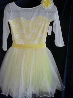 Buttercup Yellow Lace Ballet Skate Solo Curtain Call Costume ASM Hair