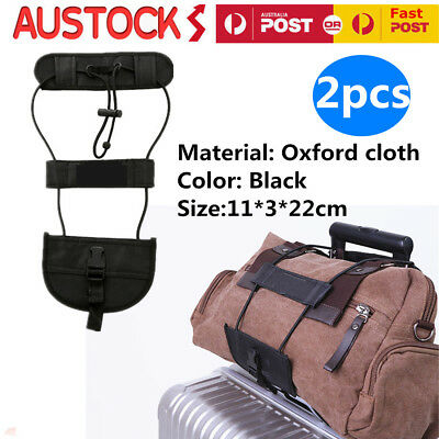 2X Adjustable Black Add A Bag Strap Luggage Suitcase Belt Carry On Bungee Travel