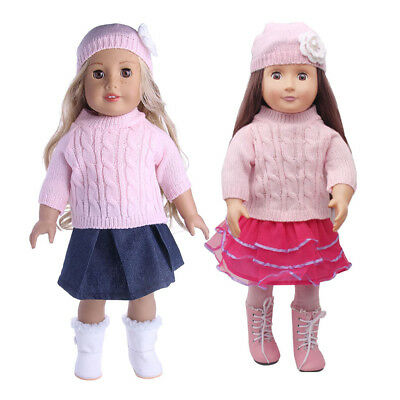 7pcs Sweater Clothes for 18 inch American Girl Doll Outfit Dress Legging Hat