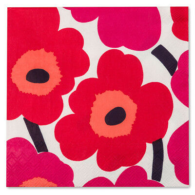 NEW Marimekko Unikko Red Lunch Napkin 20pce