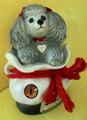 """Jim Beam """"tiffany Toy Poodle"""" Decanter Made In Usa 1973"""