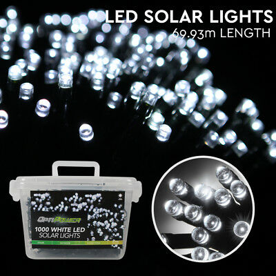 Solar LED Fairy Lights 1000 White Christmas Indoor Party Wedding String Lighting