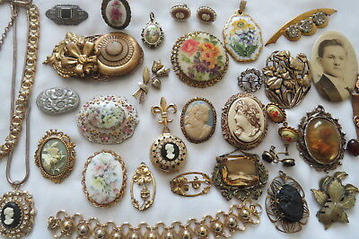 All Vintage Antique Fashion Cameo Brooch Pendant Necklace Jewelry Lot
