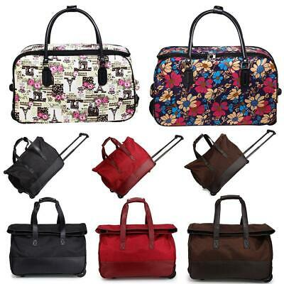Ladies Travel Bag With Wheels Women Trolley Holdall Weekend Floral Cabin Approve