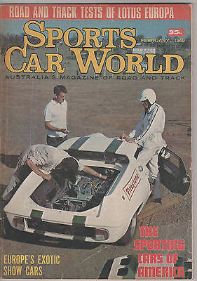 Sports Car World 1969 Feb Corvette Stingray Sprite Shelby Cobra EMPI Valkyrie Lo
