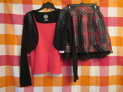 3 Piece Lot Girls Size 10-12 Holiday Outfit Cami Shrug & Skirt