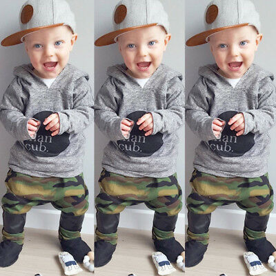 AU Camouflage Toddler Baby Boy Hoodie Long Top Pant Outfits Set Clothes 2Pcs Set