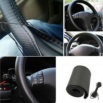 Car Truck Leather Steering Wheel Cover With Needles and Thread Black DIY ;TH