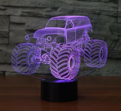 7 Changeable Colors Night Light Big Size Grave Digger Monster Truck 3D Desk Lamp