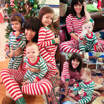 AU STOCK Christmas Striped Pyjamas Family Nightwear Adult Mum Baby Kids Pajamas