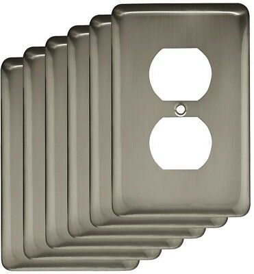 6-PACK Round Decorative Single Duplex Outlet Cover Durable Stylish, Satin Nickel