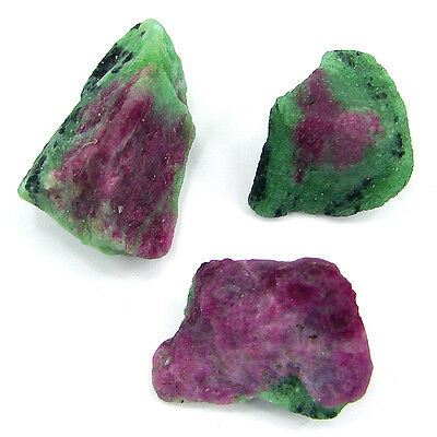 100 Ct Ruby Zoisite Anyolite Loose Gemstone Rough Specimen Lot 3 Pcs New HR1103A