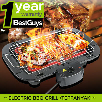 AU Electric Large Teppanyaki Table Top Griddle Plate BBQ Grill For 3 - 5 Person