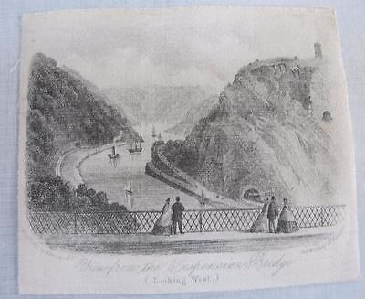 ANTIQUE VICTORIAN PRINTED SILK PICTURE - VIEW from CLIFTON SUSPENSION BRIDGE