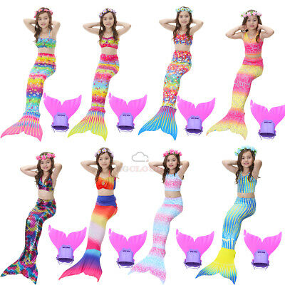 Kids Girls Mermaid Tail Swimwear Mono fins Swimming Costumes Swimmable Flippers