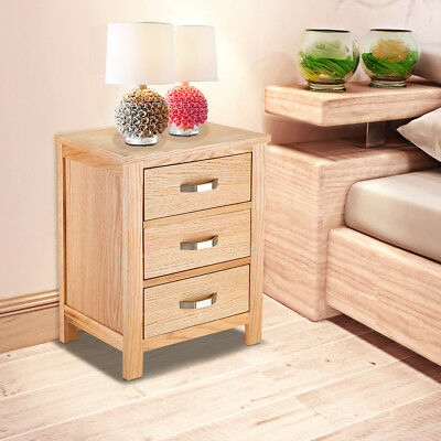 Panana Light Nightstand Oak Bedside Cabinets 3 Drawers Chests Table Solid Wood