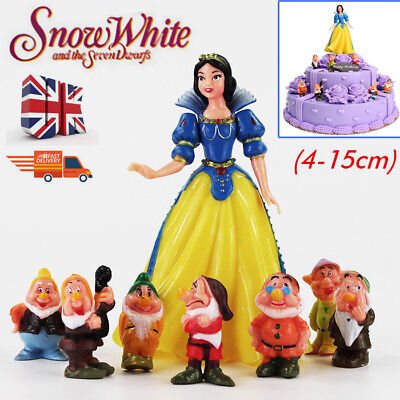 8Pcs Snow White And The Seven Dwarfs Hard Set Pvc Toy Figures Cake Toppers Uk