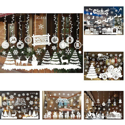 Window Wall Stickers Decal White Snowflakes Baubles Bells Christmas Decor Nice