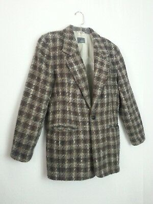 VTG 80s Liz Wear Blazer Suit Jacket Coat Brown Gray Cream Plaid Tweed Classy 8