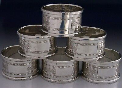 Quality Set Of Six English Sterling Silver Engine Turned Napkin Rings 1973