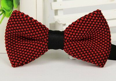 ZZBW252 Fashion Men's Scarlet Pattern Bowtie Knit Knitted Pre Tied Bow Tie Woven