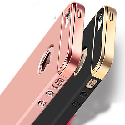 For iPhone SE 5 5s 3-in-1 Rigid Acrylic Metallic Plating Grip Case Cover Bumper