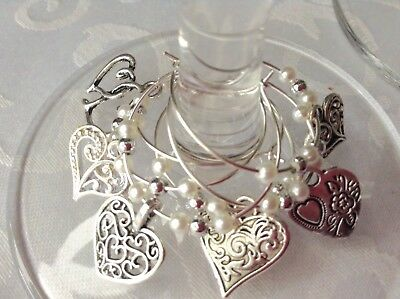 Wine Glass Charms, Silver Tone Mixed Hearts x 10 Wedding Table Decoration Party