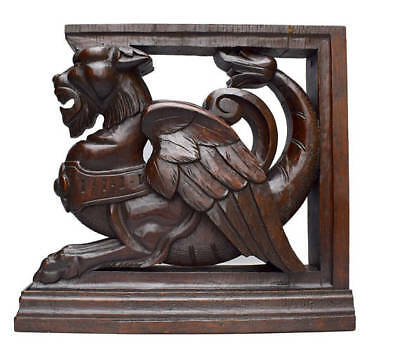 French Architectural Antique Carved Oak Wood Griffin Furniture Support Corbel