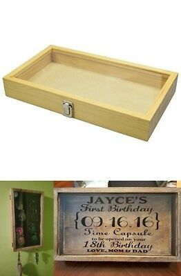 Large Natural Wood TEMPERED Glass Top Lid Metal Clip Jewelry Display Case NEW