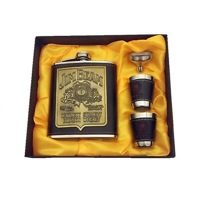 7oz Whisky Flagon cccp Stainless Steel Alcohol Hip Flask SET with Gift Box