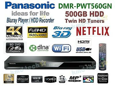 Panasonic Smart 3D Bluray Player 4K 500Gb Hdd Recorder Twin Tuner Dmr-Pwt560Gn B