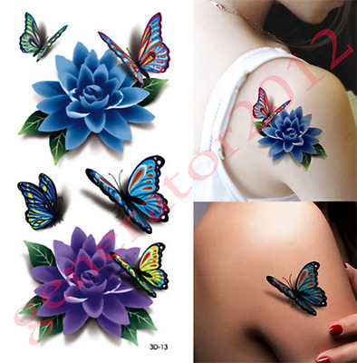 Tatouage Temporaire Tattoo Temporary Mini Rose Fleur Papillon (new)