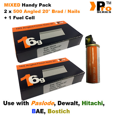 32mm + 38mm Mixed 16g ANGLED Nails, 2 x 500 pack + 1 x Fuel Cell for Paslode