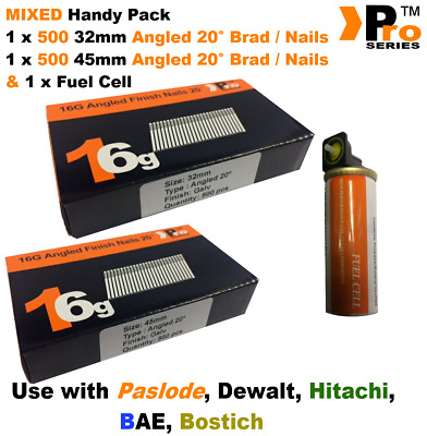 32mm +45mm Mixed 16g ANGLED Nails, 2 x 500 pack + 1 x Fuel Cell for Paslode