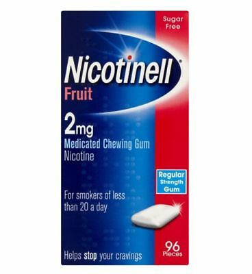 NICOTINELL FRUIT 2mg MEDICATED CHEWING GUM NICOTINE 96pcs EXP. END 2/2018 - BNIP