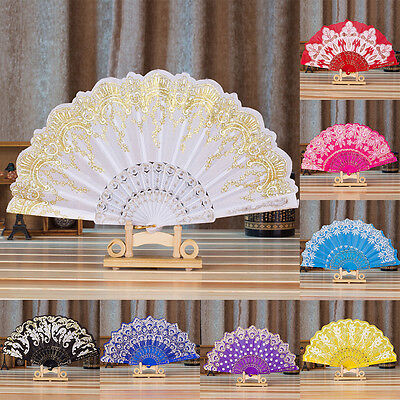 Chinese Fan Silk Lace Fabric Folding Held Dance Hand Fan Party Wedding Prom TH