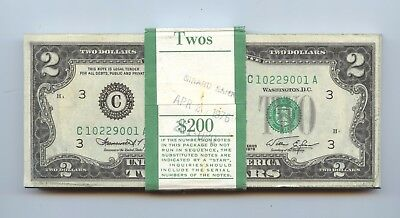 $200 Bundle Consecutive 1976 $2 Notes (#1370) 100 Notes Crisp New. Some with