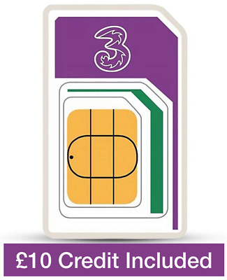 Three Network Pay as You go Trio Sim card, Preloaded with £10 Credit