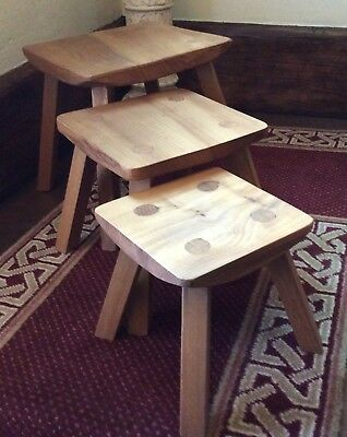 Arts & Crafts Style Light Oak Nest of Tables or Stools Unusual Dimensional Stack