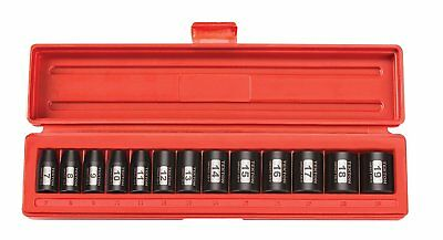 TEKTON 3/8Inch Drive Shallow Impact Socket Set, Metric, CrV, 6Point, 7 mm 19