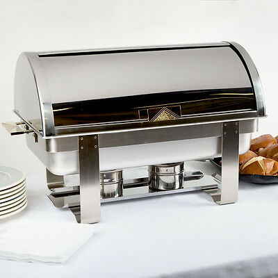 Roll Top Deluxe Full Size 8 Qt. Stainless Steel Buffet Chafer Chafing Dish Set