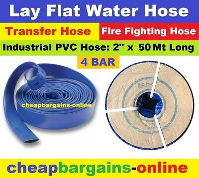 "LAY FLAT WATER FIRE HOSE REEL 2"" x 50Mt INDUSTRIAL PVC TRANSFER IRRIGATION HOSE"