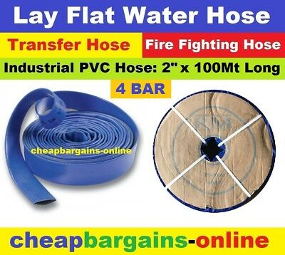 "LAY FLAT WATER FIRE HOSE REEL 2"" x 100Mt INDUSTRIAL PVC TRANSFER IRRIGATION HOSE"