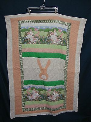Handmade Crib Quilt Rabbit Comforter Country Cottage Print Baby Bunny Chic Child