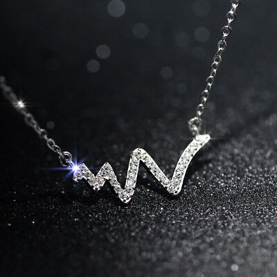 Fashion Jewellery 925 Sterling Silver CZ Zircon Heartbeat Pendant Necklace Gift