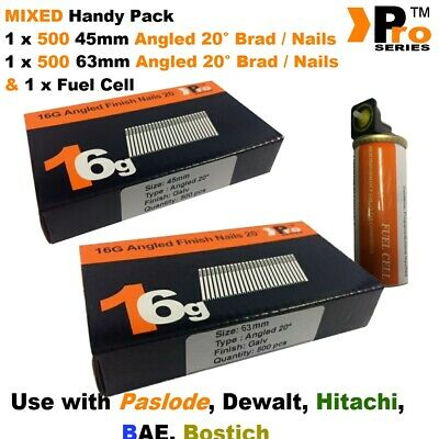45mm + 64mm Mixed 16g ANGLED Nails, 2 x 500 pack + 1 x Fuel Cell for Paslode