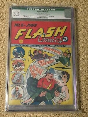 Flash Comics 6 CGC 3.5 (2nd Flash Cover June 1940 Pre-Dates All-Flash 1)
