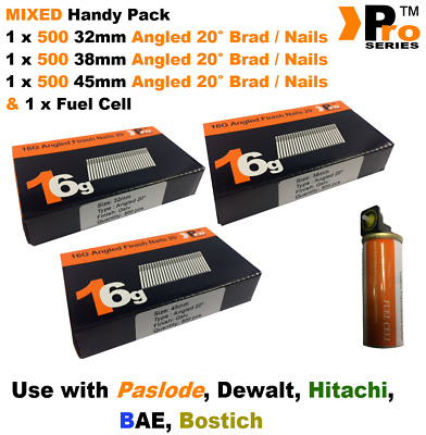 32mm + 38mm + 45mm  16g ANGLED Nails, 3 x 500 pack + 1 x Fuel Cell for Paslode